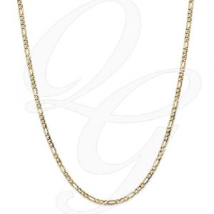 14k 3.5mm Semi-Solid Figaro Chain