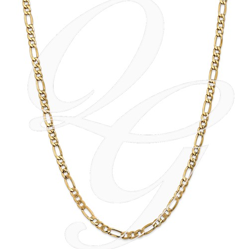 14k 5.35mm Semi-Solid Figaro Chain