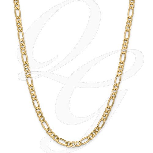 14k 6.6mm Semi-Solid Figaro Chain
