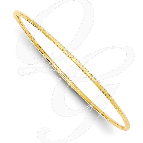 14k 2mm Diamond-Cut Tube Slip-On Bangle
