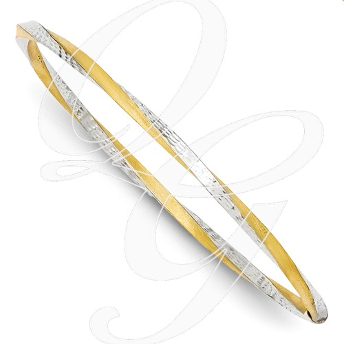 14k And Rhodium 3mm Satin Diamond-Cut Twist Slip-On Bangle