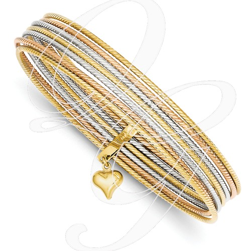 14K Tri-Color Slip On 7 Bangles