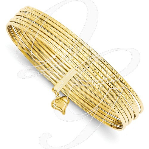 14K Diamond-Cut Slip On 7 Bangles