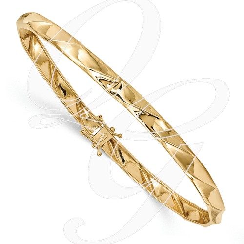 14k Yellow Gold Polished Twisted Bangle