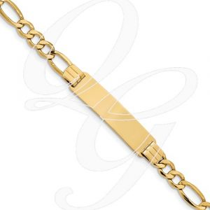 14k Polished ID With Semi-Solid Figaro Bracelet