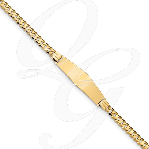14K Curb Link Soft Diamond Shape ID Bracecet