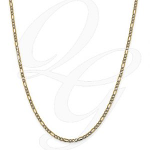 14k 3.2mm Semi-Solid Pavé Figaro Chain