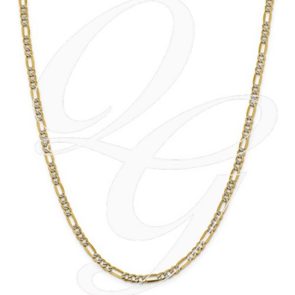 14k 3.9mm Semi-Solid Pavé Figaro Chain