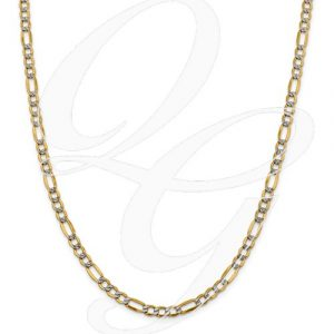 14k 5.25mm Semi-Solid Pavé Figaro Chain
