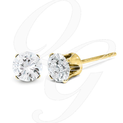 14ky 1.00ct. I2 K-L Diamond Stud Push-On Post Earrings