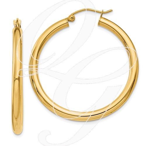 14k 3mm Light Tube Hoop Earrings