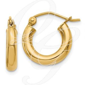 14k Polished 3mm Lightweight Round Hoop Earrings